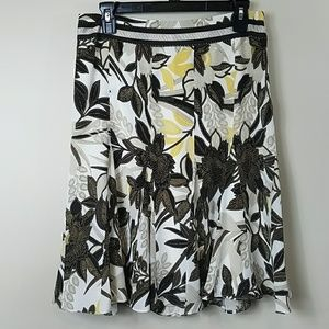 Ann Taylor Silk Floral A-line Skirt
